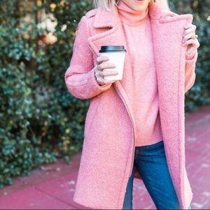 💕COZY Loft pink textured wool coat jacket